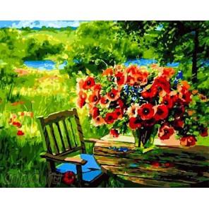 Букет маков в саду Раскраска по номерам на холсте GX23451