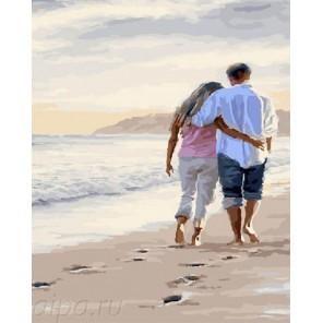 Вдвоем по берегу моря Раскраска по номерам на холсте