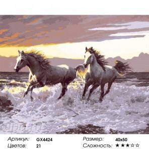 Сложность и количество цветов  Галоп по берегу моря Раскраска по номерам на холсте GX4424