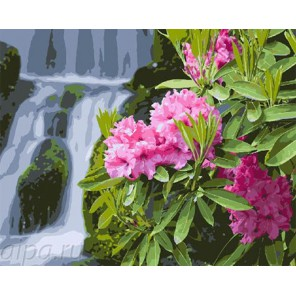 Цветы у водопада Раскраска по номерам на холсте GX7974