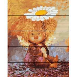 Солнечный ангел с ромашкой Картина по номерам на дереве