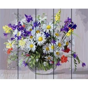 Букет с полевыми цветами Картина по номерам на дереве