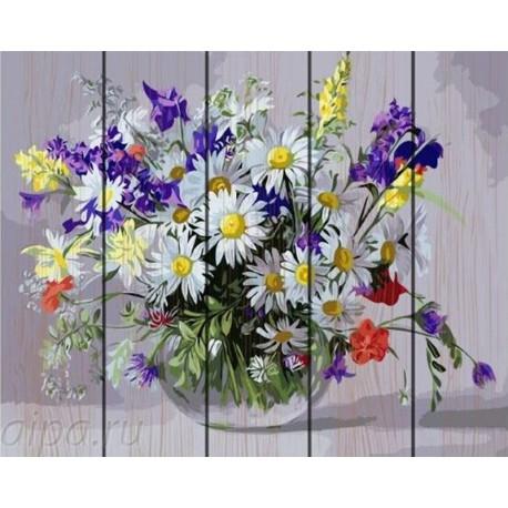 Букет с полевыми цветами Картина по номерам на дереве GXT9890