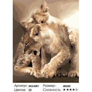 Котята-пантерята Раскраска картина по номерам на холсте