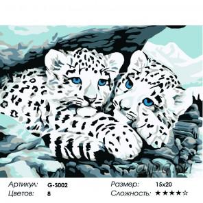 Сложность и количество красок  Снежные барсы Раскраска мини по номерам G-S002