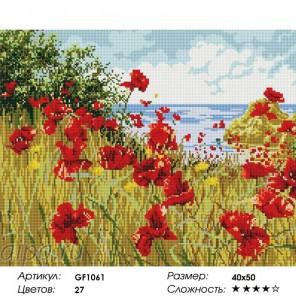 Сложность и количество цветов  Маки на берегу Алмазная мозаика на подрамнике GF1061