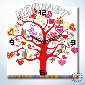 1_ Дерево любви Часы-раскраска по номерам на холсте Hobbart