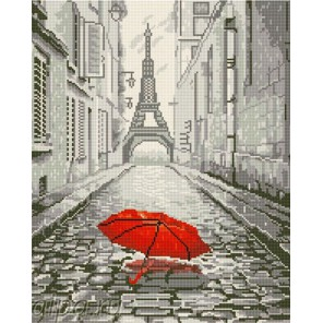 Красный зонт в Париже Алмазная мозаика на подрамнике GF2163