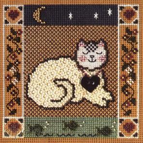 Состав набора Спящий котенок Набор для вышивания MILL HILL