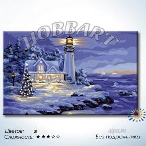 Количество цветов и сложность Маяк зимой Раскраска по номерам на холсте Hobbart DH5080042