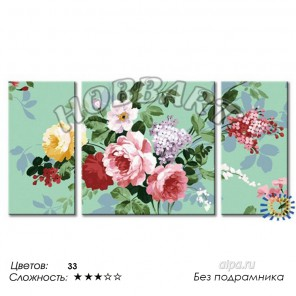 Количество цветов и сложность В павлопосадском стиле Раскраска по номерам на холсте Hobbart PH360120001