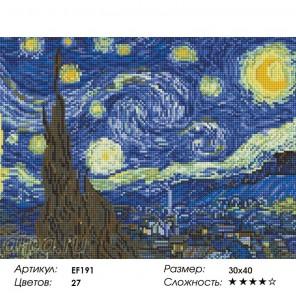 Сложность и количество цветов  Звездная ночь Алмазная мозаика на подрамнике EF191