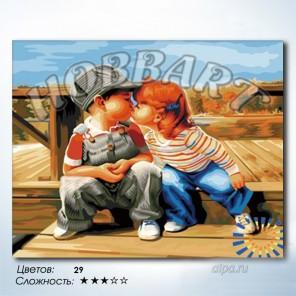 Количество цветов и сложность Робкий поцелуй Раскраска по номерам на холсте Hobbart HB4050230