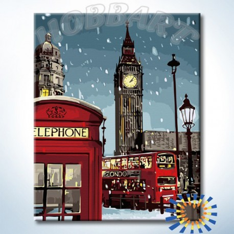 Зимний Лондон Раскраска по номерам на холсте Hobbart