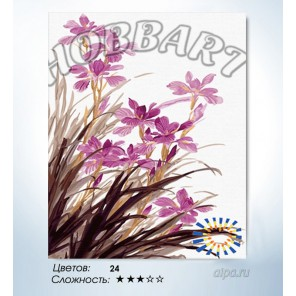 В рамке Сиреневые орхидеи Раскраска по номерам на холсте Hobbart HB4050135