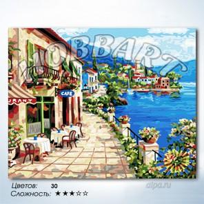 Количество цветов и сложность В кафе на побережье Раскраска по номерам на холсте Hobbart HB4050175