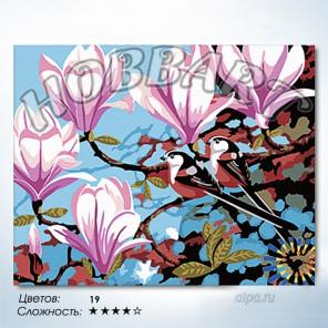 Количество цветов и сложность Розовые магнолии Раскраска по номерам на холсте Hobbart