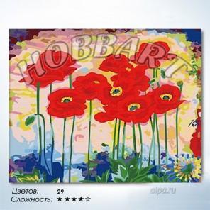 Количество цветов и сложность Маковое раздолье Раскраска по номерам на холсте Hobbart HB4050059