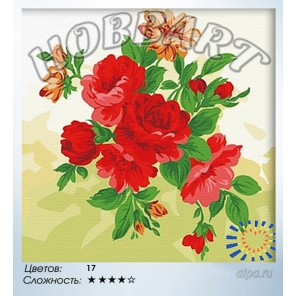В рамке Пионы Раскраска по номерам на холсте Hobbart HB4040003
