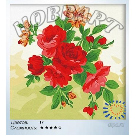 Количество цветов и сложность Пионы Раскраска по номерам на холсте Hobbart HB4040003