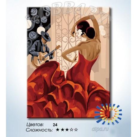 Фламенко Раскраска по номерам на холсте Hobbart HB3040171 ...
