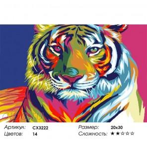 Радужный тигр Раскраска по номерам на холсте