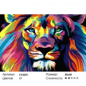 Радужный лев Раскраска по номерам на холсте