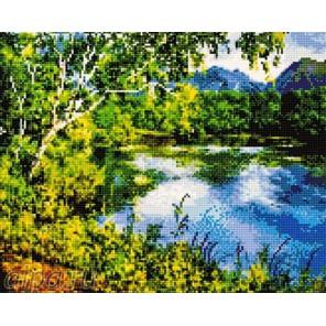 Голубое озеро Алмазная мозаика на подрамнике