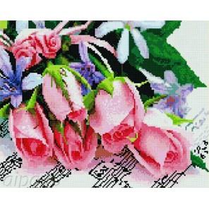 Цветы и ноты Алмазная мозаика на подрамнике