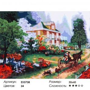 Сложность и количество цветов Поместье Раскраска по номерам на холсте EX5738