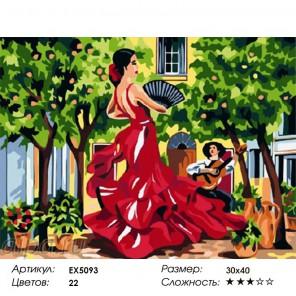 Дама с веером Раскраска по номерам на холсте
