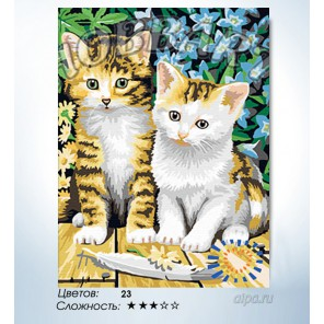 Количество цветов и сложность Чудесные котята Раскраска по номерам на холсте Hobbart HB3040033-LITE