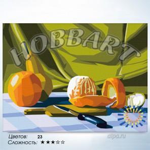 Количество цветов и сложность Апельсиновая Раскраска по номерам на холсте Hobbart HB3040004