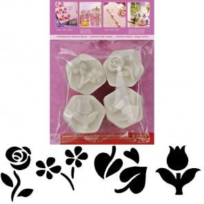 Цветы Набор мини-штампов Marabu-Mini Stempel для скрапбукинга, кардмейкинга