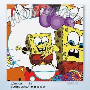 Количество цветов и сложность Губка Боб. Sponge Bob Раскраска по номерам на холсте Hobbart HB3030003