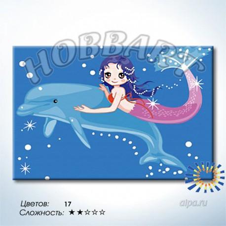 Дельфин и русалка Раскраска по номерам на холсте Hobbart ...