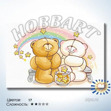 Количество цветов и сложность Звездные мишки Раскраска по номерам на холсте Hobbart HB2030053-LITE