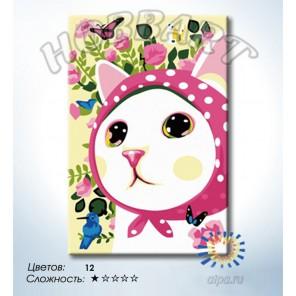 Количество цветов и сложность Кошечка в платочке Раскраска по номерам на холсте Hobbart HB2030088-LITE