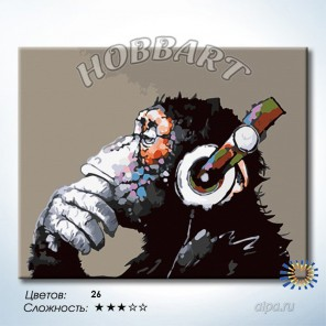 Количество цветов и сложность Мелодия мысли. Monkey - Music Раскраска по номерам на холсте Hobbart DZ4050019