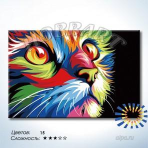 Количество цветов и сложность Радужный кот. Ваю Ромдони Раскраска по номерам на холсте Hobbart DZ2030004-LITE