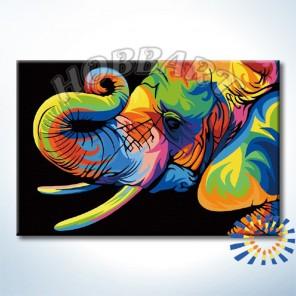 Количество цветов и сложность Радужный слон. Ваю Ромдони Раскраска по номерам на холсте Hobbart DZ2030011