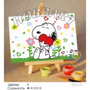Количество цветов и сложнсоть Обнимашки Раскраска по номерам на холсте Hobbart M1015048