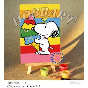 Количество цветов и сложнсоть Радужный десерт Раскраска по номерам на холсте Hobbart M1015144