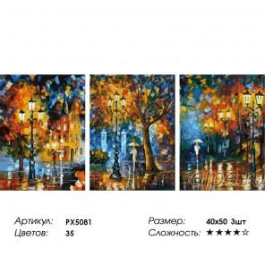 Сложность и количество цветов Под дождем (художник Л. Афремов) Триптих Раскраска по номерам на холсте PX5081