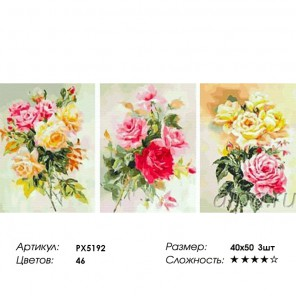Сложность и количество цветов Нежные розы Триптих Раскраска по номерам на холсте PX5192