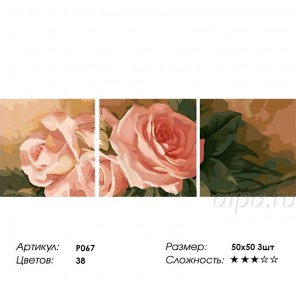 Сложность и количество цветов  Чайные розы Триптих Раскраска по номерам на холсте P067
