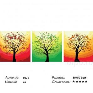 Сложность и количество цветов Весна, лето, осень Триптих Раскраска по номерам на холсте P076