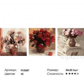 Сложность и количество цветов  Розы в вазах Триптих Раскраска по номерам на холсте PX5087