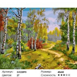 Осень в березовой роще Раскраска по номерам на холсте