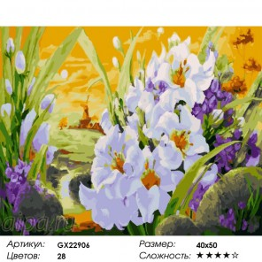 Нежность цветов Раскраска по номерам на холсте